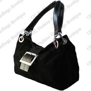 ITALIAN REAL SUEDE LEATHER BUCKLE SHOULDER HANDBAG