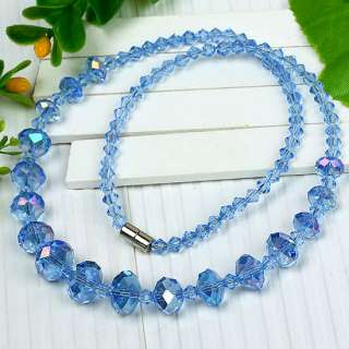 Faceted* Crystal Glass Graduated Bead Necklace 6 CHOICE