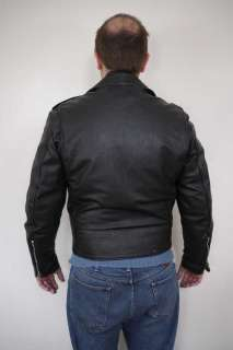 Vintage 60s EXCELLED Black LEATHER Motorcycle BIKER Quilt Lined JACKET