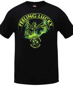 Harley Davidson Mens Feeling Lucky Shamrock Irish Leprechaun Black T