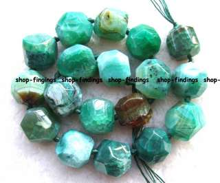 green faceted 19 22mm natural agate freeform gemstone Beads 16.5 new