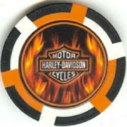 pc HARLEY DAVIDSON MOTORCYCLE FLAMES poker chip sample set #187