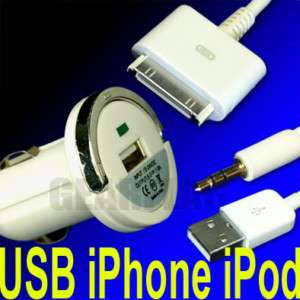 Car CD Player iPhone iPod AUX Cable USB Lighter charger