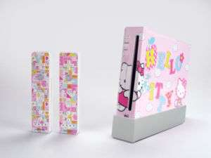New For Nintendo Wii Vinyl Sticker/Skin Hello Kitty