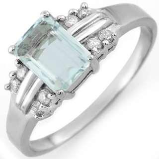 Genuine 1.41 ctw Aquamarine & Diamond Ring 10K Gold