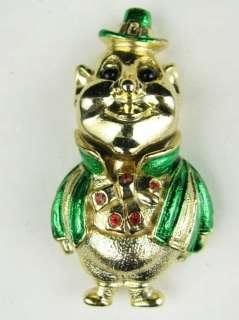 Vintage Jewelry Gold Enamel Irish St Patricks Day Leprechaun Green Pin