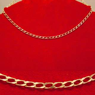 NEW 14K HEAVY GOLD GP CURB CHAIN NECKLACE BRACELET 2 PC SET FAST FREE