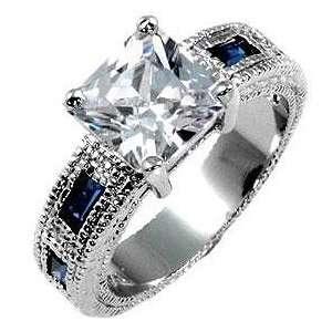Ring mit CZ Saphir und Zirkonia Diamanten, 14 Karat Weißgold Vermeil