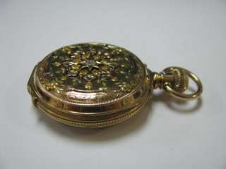 Elgin 14K Solid Gold Pocket Watch HC Blackhills Finish Year 1888
