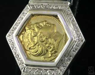HEAVY 18K 2 TONE GOLD GREEK DESIGNER 1.58CT DIAMOND/SAPPHIRE COIN