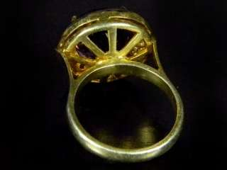 SPARKILING Beautiful Genuine Rose Cut Diamond Amethyst Gold PT