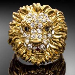 ARINNA Marvelous Crystal Lion Gold GP Fashion Rings