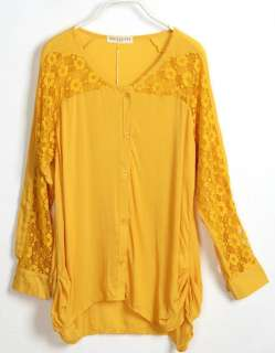 Sexy Womens Chiffon Shirt Loose Lace Blouse Long Sleeve Tops Button