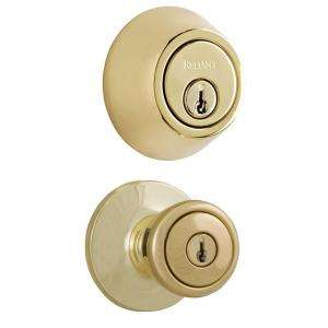 Reliant Combo Single Cylinder Deadbolt with Tulip Knob Polished Brass