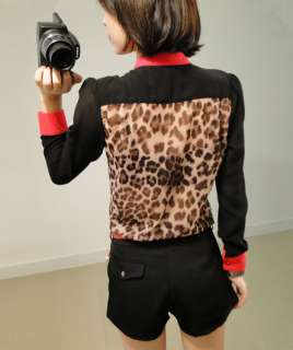 Sexy Woman Women?s Color Block Stand Up Collar Leopard Print Chiffon