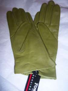 Ladies Fownes Kiwi Green Leather Gloves,Large