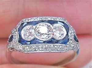 ESTATE ART DECO 1+ ct OLD DIAMOND SAPPHIRE 3 STONE RING