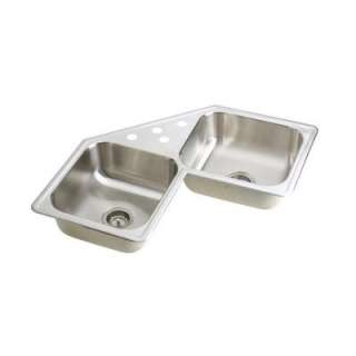 Mount Stainless Steel 31 7/8x31 7/8x7 4 Hole Double Bowl Kitchen Sink