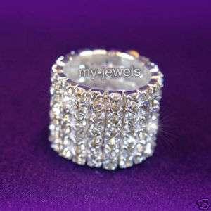 Drag Queen 6 Row Stretch Crystal Rhinestone Ring R904