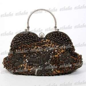 Elegant Tote Handbag Hand Shoulder Bag Chain Brown 66DM