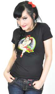 Rockabilly Cherry Girl Comic Pin Up Shirt Batcave Emo
