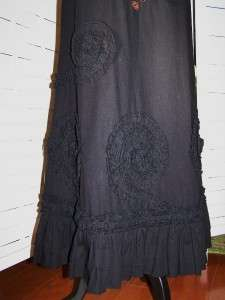 Best Lucy Paris Embroiderey Sequins Raised Rosettes Maxi Peasant Skirt