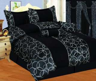 NEW Bed In A Bag Black Jacquard Suede Comforter Set