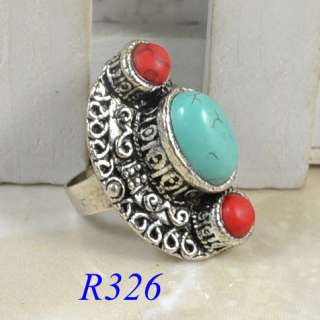 Vintage Tibetan Silver Plated Costume Adjustable Turquoise Ring
