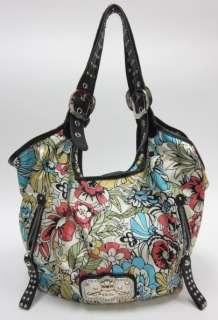 KATHY VAN ZEELAND Floral Black Leather Shoulder Handbag
