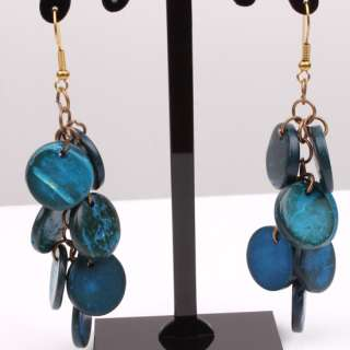 Blue Coconut Shell Beads Necklace Bracelet Earrings Set