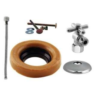 Westbrass 1/2 In. IPS Cross Handle Angle Stop Toilet Installation Kit