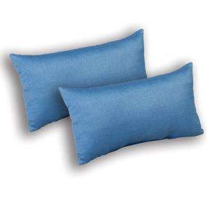 Plantation Patterns 20 In. Coastal Blue Textured Lumbar Pillow, 2 Pack