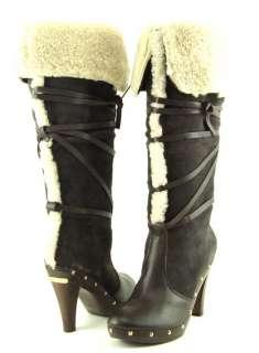 MICHAEL MICHAEL KORS SHEARLING Coffee Womens Clog Boots 8