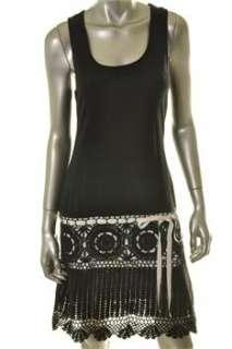 FAMOUS CATALOG Moda Black Casual Dress Crochet Racerback M |