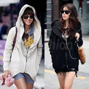 Womens Double Zipper Hoodie Jacket Coat Faux 2 PCS Sweatshirt Tops