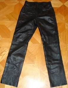 Biker Pants Men Size 30 Women Size S Black Genuine Leather