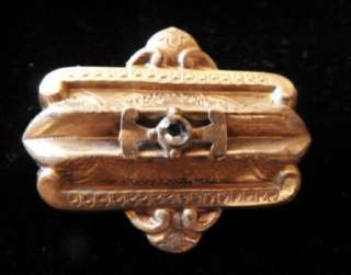 Gold Filled VICTORIAN Brooch Pin Pendant Enamel Tube Hinge C Clasp