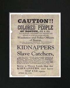 Colored People Boston 1851 Ad Slave Black Americana