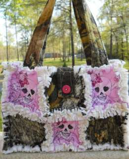 BREAKUP PINK SKULLS RAG QUILT PURSE DIAPER BAG HANDBAG SPRING SUMMER