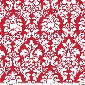 FAT QUARTER Damask Rouge Red White Michael Miller 22x18