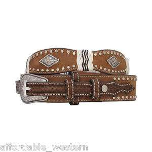 Man Brown Leather  RANGER BELT  Silver Buckle Diamond C