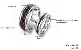 New Matching Tungsten Carbide Ring Set Wedding Bands Red & Black