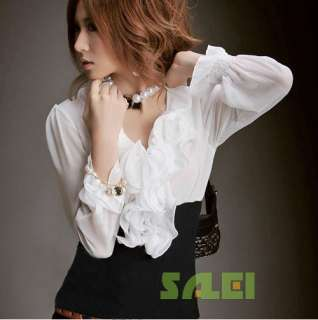 OL Style Layered Ruffles Collar Long Sleeve Chiffon Shirt For Women