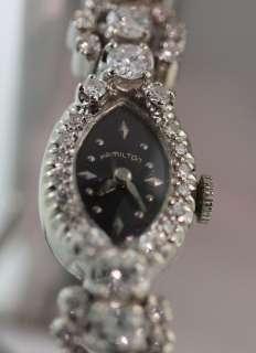 Rare Hamilton Vintage Gold Diamond Watch, 2.75 carats, 14K