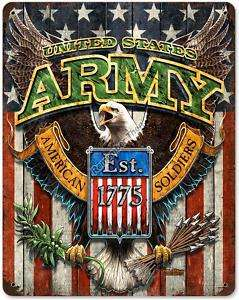 United States Army Est 1775 military metal sign w/eagle