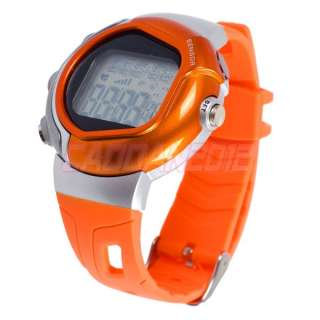 New Orange Pulse Heart Rate Exercise Calorie Counter Alarm Wrist Watch