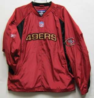 SAN FRANCISCO 49ERS REEBOK ON FIELD PULLOVER WINDBREAKER JACKET LARGE