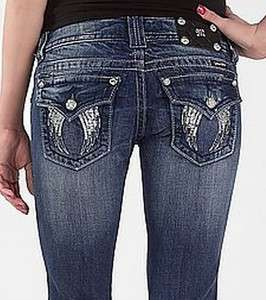 ME WOMEN JEANS METALLIC STUD SEQUIN FALLEN ANGEL WINGS BOOT CUT