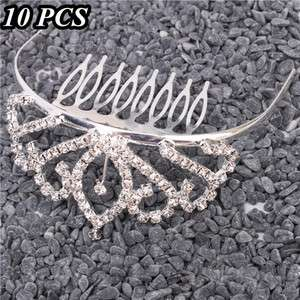 Medium Leaves Rhinestone Crown Comb Hair Clip Tiara Wedding Hair Comb