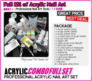FULL ACRYLIC LIQUID FRENCH NAIL ART TIP KIT SET NA084 4